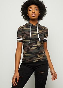 Camo Print Striped Super Soft Hooded Tee