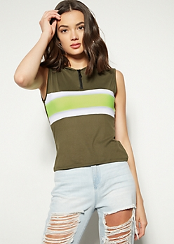 c779530aa12 Olive Colorblock Zip Super Soft Hooded Tank Top