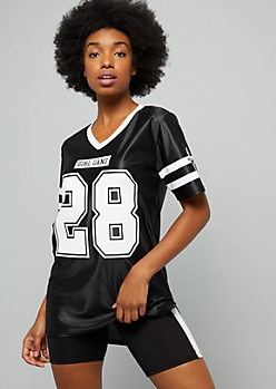 Black Varsity Striped Girl Gang Football Jersey