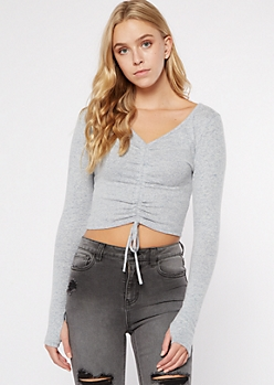Blue Heathered Hacci Ruched Drawstring Top