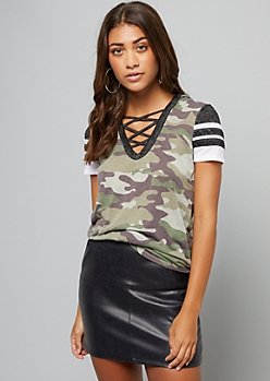 Camo Print Lattice V Neck Hooded Tunic