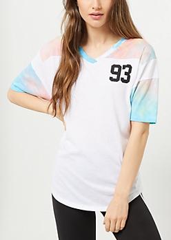 Tie Dye Print 93 Colorblock V Neck Tunic