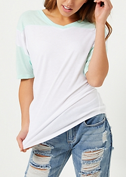 Mint 95 Colorblock V Neck Tunic
