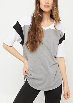 Gray 91 Colorblock V Neck Tunic