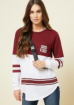 Burgundy Good Vibes Pocket Colorblock Sweatshirt