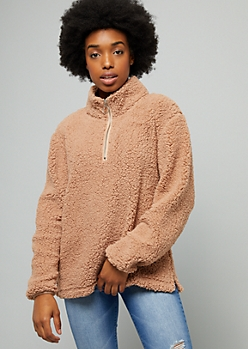 Camel Sherpa Half Zip Sweatshirt