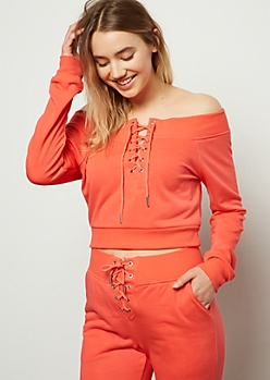 Neon Coral Lace Up Cropped Sweatshirt