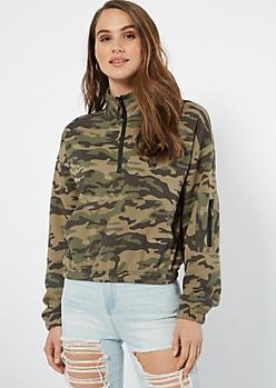 Camo Print Half Zip Cargo Pocket Pullover