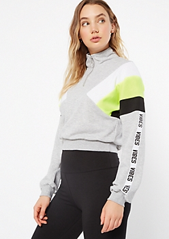 Neon Yellow Colorblock Vibes Side Striped Pullover