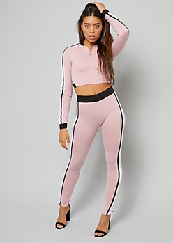 Pink Side Striped Ring Zipper Long Sleeve Crop Top