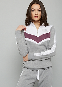 Gray Chevron Colorblock Good Vibes Graphic Sweatshirt