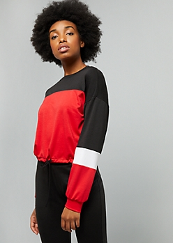 Red Colorblock Skimmer Sweatshirt