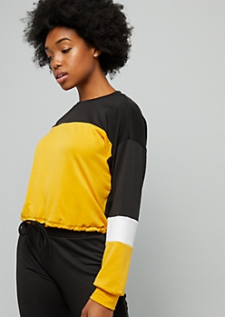 Mustard Colorblock Crew Neck Sweatshirt