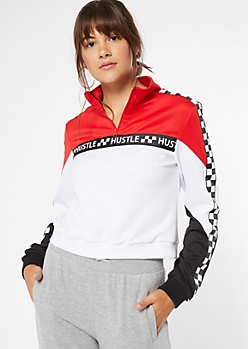 Red Colorblock Hustle Side Striped Pullover