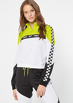 Neon Yellow Colorblock Vibe Side Striped Pullover