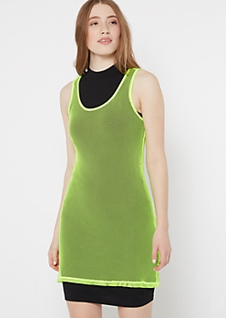 Neon Green Mesh Oversized Tank Top