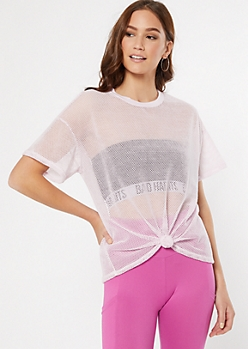 Pink Mesh Knot Front Top