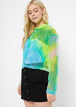Neon Aqua Tie Dye Mesh Hoodie
