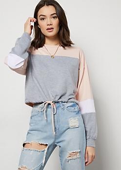 Light Pink Colorblock Drawstring Sweatshirt