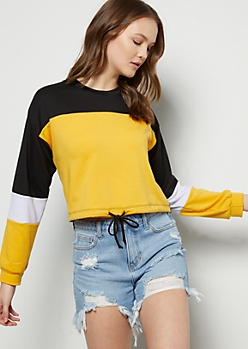 Mustard Colorblock Drawstring Sweatshirt