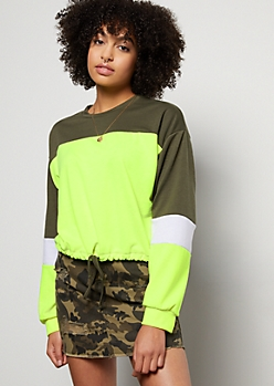 Neon Yellow Colorblock Drawstring Sweatshirt