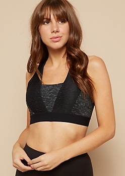 Black Cross Back Mesh Striped Seamless Sports Bra