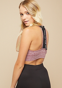 Heathered Burgundy Zipper Back Sports Bra