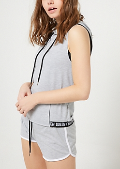 Gray Queen Hooded Muscle Tank Top