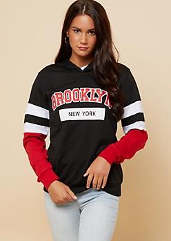 Black Brooklyn Athletic Stripe Varsity Hoodie