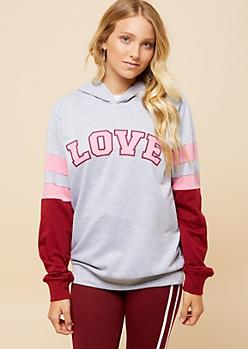 Gray Love Athletic Stripe Varsity Hoodie