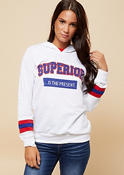 White Athletic Stripe Superior Varsity Hoodie
