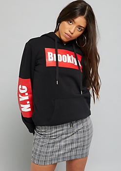 Black Brooklyn NYC Graphic Sleeve Hoodie