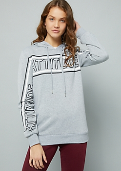 Gray Striped Attitude Sleeve Hoodie