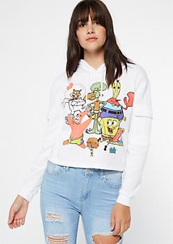 White SpongeBob Group Cargo Graphic Hoodie