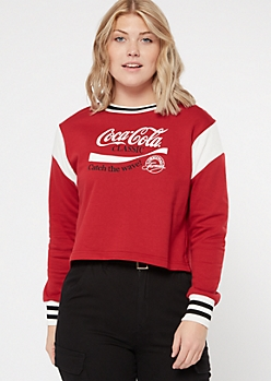 Red Colorblock Cuffed Coke Graphic Sweatshirt
