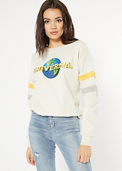 Oatmeal Striped Universal Graphic Sweatshirt