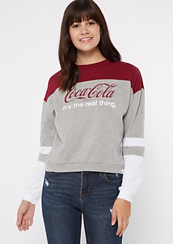Gray Striped Colorblock Coke Graphic Sweatshirt