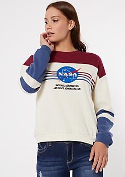 Ivory Striped Colorblock NASA Graphic Sweatshirt