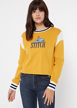 Mustard Colorblock Cuffed Stitch Graphic Sweatshirt