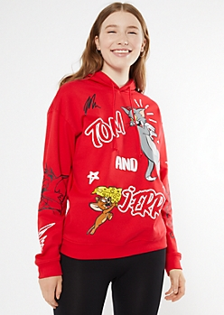 Red Tom And Jerry Doodle Hoodie