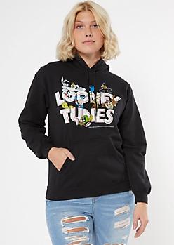 Black Looney Tunes Logo Hoodie