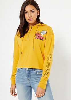 Mustard Half Zip Tom and Jerry Graphic Hoodie