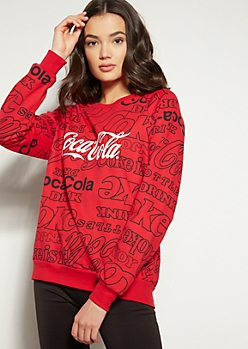 Red Coca Cola Print Crew Neck Sweatshirt