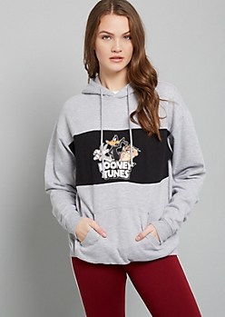 Gray Looney Tunes Colorblock Fleece Graphic Hoodie