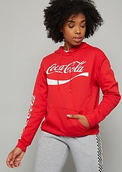 Red Coca Cola Fleece Graphic Hoodie
