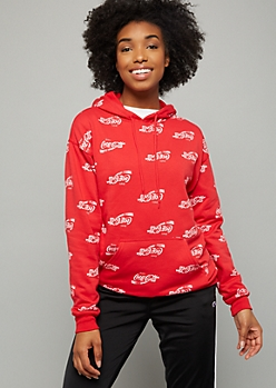 Red Coca Cola Print Fleece Graphic Hoodie