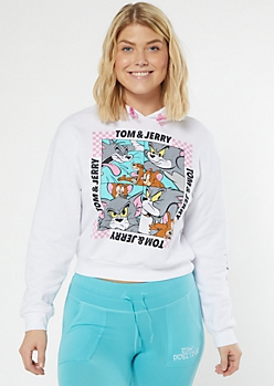 White Tom And Jerry Checkered Print Graphic Hoodie