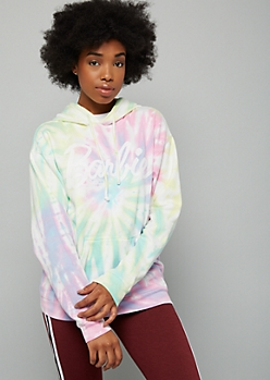 Pastel Tie Dye Barbie Oversized Graphic Hoodie
