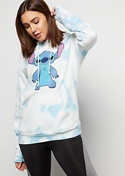 Pastel Blue Tie Dye Stitch Graphic Hoodie