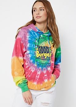 Rainbow Tie Dye Good Burger Graphic Hoodie